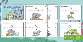 Ronald the Rhino Talk Cards - Twinkl originals, fiction, KS1, EYFS, comprehension, inference, deduction