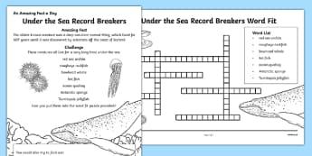 Under the Sea Record Breakers Worksheet / Activity Sheet, worksheet