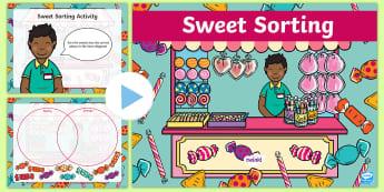 Venn Diagram Sweets Sorting PowerPoint  - Venn Diagram Sweets Sorting Activity - venn diagram, maths, sort, matsh