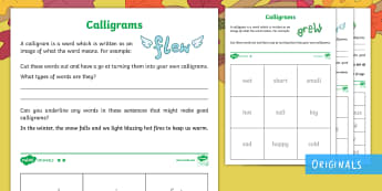 Little Acorns Calligrams Differentiated Activity Sheet - Literacy, English, Word Activities, worksheet, ks1, words as images, illustrated words, autumn, twin