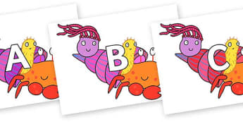 A-Z Alphabet on Sharing a Shell to Support Teaching on Sharing a Shell - A-Z, A4, display, Alphabet frieze, Display letters, Letter posters, A-Z letters, Alphabet flashcards