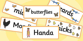 Handa's Hen Word Cards - Handa's Hen, Eileen Browne, Africa, African culture, African animals, counting, Mondi, sunbirds, bullfrogs, spoonbills, story, story book, story book resources, story sequencing, story resources, Word cards, Word Card, flashc
