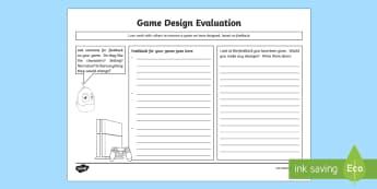 CfE Game Design Evaluation Activity Sheet - Game DesignTechnologies Second LevelGame Design CfEEvaluationFeedback,Scottish, worksheet