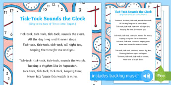 Tick-Tock Sounds the Clock Song - EYFS, Phase 1, Aspect 6, sound effect, letters and sounds, phonics, speech development, speech and l