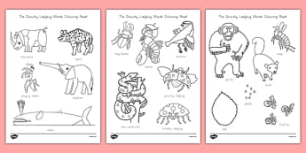 The Grouchy Ladybug Words coloring Sheet - usa, america, the grouchy ladybug, coloring