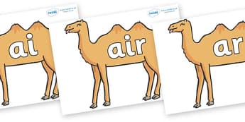 Phase 3 Phonemes on Camels - Phonemes, phoneme, Phase 3, Phase three, Foundation, Literacy, Letters and Sounds, DfES, display