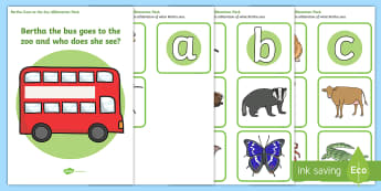 Bertha Goes to the Zoo Alliteration Activity Pack - alliteration, bertha goes to the zoo, bertha goes to the zoo alliteration game, alliteration matching