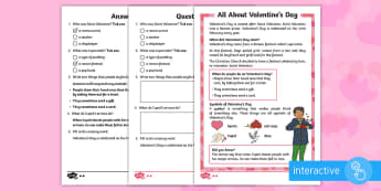 KS1 Valentine's Day Differentiated Comprehension Go Respond Activity Sheets - Valentine's Day, Saint Valentine, Saints, traditions, February, reading comprehension, go respond,