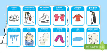 Winter Words and Pictures Flashcards - English / Spanish - Winter Words and Pictures Flashcards - winter, visual aids, cards, wnter, winterwords, wintre, flash