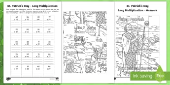St. Patrick's Day Long Multiplication Colouring Worksheet / Activity Sheet - la feile padraig, Lá féile Pádraig, La Fheile Phadraig, lá le Phádraig, NI St. Patrick's Day Resources KS2, Saint Patrick, Naomh Pádraig, Colouring Page, Colouring Activi