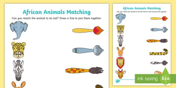 African Animals Matching Activity  - matching, animals, tails, Africa, hare, Why the hare has no tale, activity