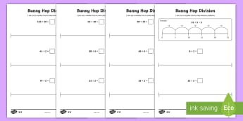 Bunny Hop Division by 2 5 10  Differentiated Activity Sheets - Repeated Subtraction, Number Line, Divide, Share, Steps