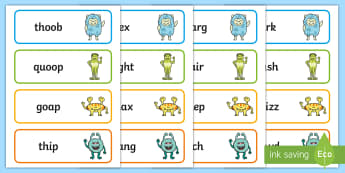 Phase 3 Alien Flashcards - Nonsense, Letters and Sounds, Phonics, Decode, Blend