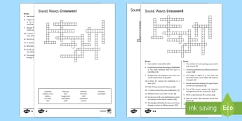 KS3 Sound Waves Crossword