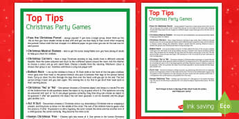 Christmas Party Games Display Poster - Christmas, Xmas, party, poster, games, ideas, activities, top tips,
