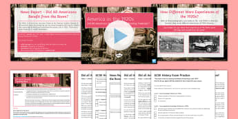 Did All Americans Benefit from the Boom in the 1920s? Lesson Pack - farmers, recession, discrimination, industries, poor, deep south, economic hardship, great depressio