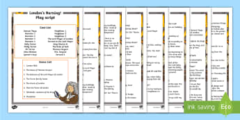 KS1 London's Burning Play Script - history, great fire of london, samuel pepys, buildings, materials