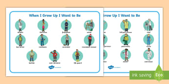 When I Grow Up I Want to Be... Word Mat - grow up, vocabulary, visual aid, people who help us, careers, carers, jobs, what we work as,