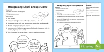 Recognising Equal Groups Game - mastery, depth, explain reason, multiply, divide, factor.