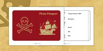 Pirate Passport - pirates, writing frame, writing template, write