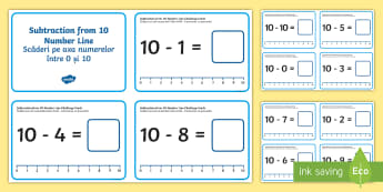 Subtraction from 10 Number Line Challenge Cards English/Romanian - Subtraction Up to 10 with a Number Line Challenge Cards,subtraction, up to 10, number line, EAL