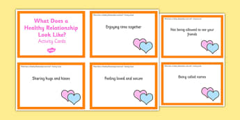 What Does a Healthy Relationship Look Like? Activity Cards - what does a healthy relationship looks like, healthy relationship, activity, cards