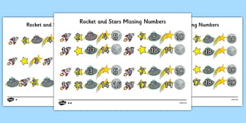 Rockets and Stars Missing Number Differentiated Worksheet / Activity Sheet Pack - rockets, stars, missing number, differentiated, activity, sheets, worksheet
