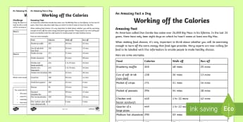 Working off the Calories Worksheet / Activity Sheet - Amazing Fact Of The Day, worksheet / activity sheets, powerpoint, starter, morning activity, December, healthy e