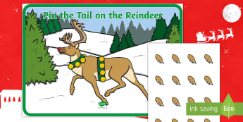 Pin the Tail on the Reindeer Game -  game, fun, Activity, Coordination, Winter, Festive