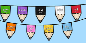 Colours on Pencil Bunting Arabic Translation - arabic, colours, pencil, bunting, display