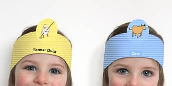 Farmer Duck Role Play Headbands - stories, story books, roleplay