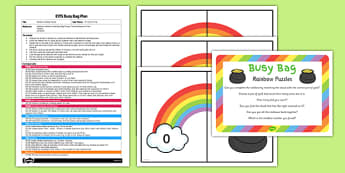 St Patrick's Day Rainbow Number Puzzle EYFS Busy Bag Plan and Resource Pack - St Patricks Day, rainbow