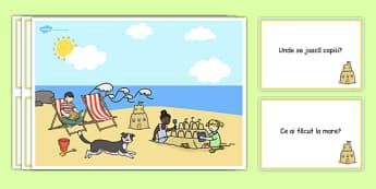 Pe litoral - Întrebări pe baza imaginii - pe litoral, întrebări, imagini, la mare, nisip, vară, vacanță, materiale didactice, română, romana, material, material didactic