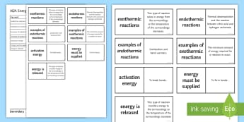 AQA Energy Changes Loop Cards - Activation energy, exothermic, Endothermic, breaking bonds, forming bonds