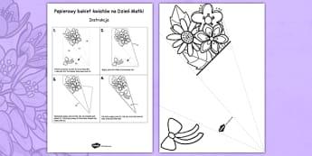 Bukiet kwiatów na Dzień Matki po polsku - mama