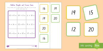 Addition Noughts and Crosses (to 20) Activity - New Zealand, maths, addition, addition to 20, Years 1-3, age 6, age 7, adding, bingo, noughts and cr