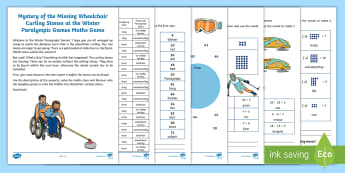 KS1 The Mystery of the Missing Wheelchair Curling Stones at the Winter Paralympic Games Maths Game - compare and order numbers, arrays and multiplication statements, fractions of amounts, read and writ