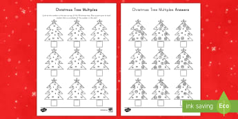 Christmas Tree Multiples Activity Sheet - factors, multiplication, division, number, operations, calculations