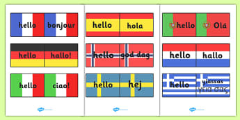 Hello Languages On Flags - Hello sign, flag, flags, hola, ola, Guten Tag, bonjour, salut, hello, language, differernt languages