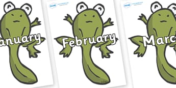 Months of the Year on Froglets - Months of the Year, Months poster, Months display, display, poster, frieze, Months, month, January, February, March, April, May, June, July, August, September