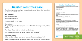 KS1 Number Rods Track Race Board Game - Cuisenaire, Number Rods, Counting, number, addition, game, small numbers, maths mastery, visual, pic
