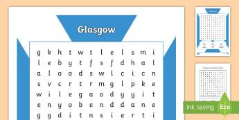 Glasgow Word Search-Scottish - Scottish Cities, Glasgow, landmarks, keywords, topic words, starter activity, early finisher,Scottis