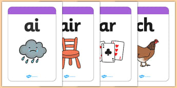 Large Phase 3 Mnemonic Word / Image Cards - Phonemes, Phase 3, Phase three, Mnemonic cards, DfES Letters and Sounds, Letters and sounds, Letter flashcards, Image and Word Cards