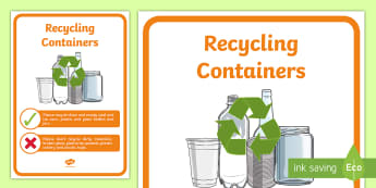 Recycling Containers Display Poster - tidy kiwi, New Zealand, rubbish, recycling, Years 1-6, containers, display poster