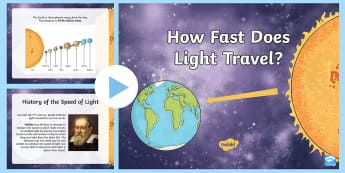 The Speed of Light PowerPoint - Science, How fast does Light travel?, Energy, galileo, forces, physics