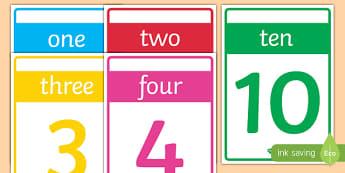 Numbers 1-10 Cards - numbers, number, 1, 10, cards, flash cards, poster, display, maths