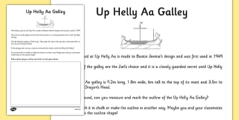 Up Helly Aa Galley Dimensions Activity - CfE, Vikings, Scotland, Shetland, fire festival, longship, measuring