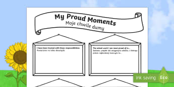 My Proud Moments Writing Template - English/Polish  - ourselves, writing aid  , oursleves, ourselvs, tempelte, writting, templet,Polish-translation