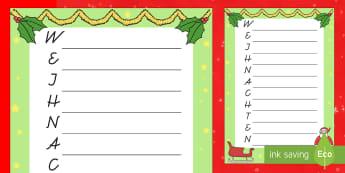 Weihnachten Akrostichon Arbeitsblatt - DE EYFS Christmas, Weihnachten, schreiben, writing, acrostic, Akrostichon,German