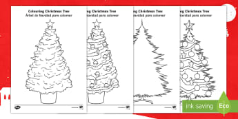 Colouring Christmas Tree Template English/Spanish - Christmas, xmas, tree, colouring, fine motor skills, worksheet, EAL